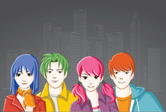 Group of cartoon young people. Royalty Free Stock Photos