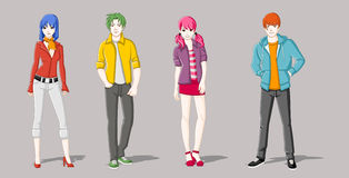 Group of cartoon young people. Manga anime teenagers Stock Photography