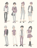 Group of cartoon young people. Manga anime teenagers Royalty Free Stock Images