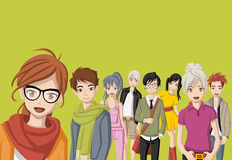 Group of cartoon young people. Manga anime teenagers Stock Image