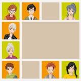Group of cartoon young people. Manga anime teenagers Stock Images