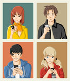 Group of cartoon young people with smart phones. Manga anime teenagers Royalty Free Stock Photo
