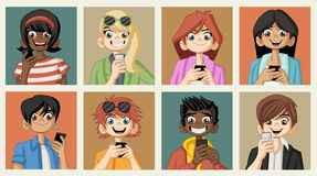 Group of cartoon young people with smart phones Stock Images