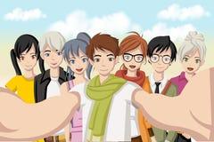 Group of cartoon young people. Stock Photos