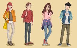 Group of cartoon young people. Royalty Free Stock Photography