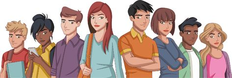 Group of cartoon young people. Teenagers Royalty Free Stock Photo