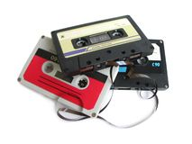 Group of cassette tapes Royalty Free Stock Images