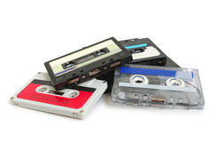Group of cassette tapes. On white background royalty free stock image