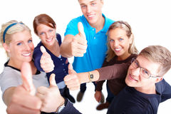 Group of casual friends giving thumbs up Stock Photography