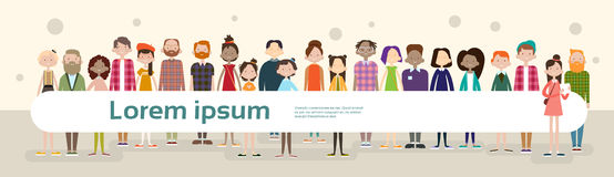 Group Casual People Big Crowd Diverse Ethnic Mix Race Banner Royalty Free Stock Images
