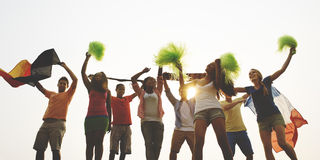 Group Casual People Cheering Outdoors Concept Stock Images