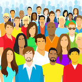 Group of Casual People Face Big Crowd Diverse. Ethnic Vector illustration Stock Photo
