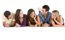 Group of casual people on the floor Royalty Free Stock Photos