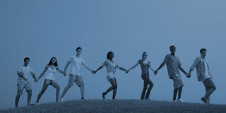 Group Casual People Walking Together Outdoors Concept Royalty Free Stock Photos