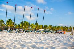 Group of catamarans with colorful sails on exotic Royalty Free Stock Photos
