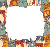 Group Cats frame border isolate on white Stock Photo