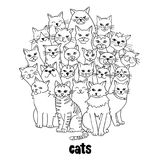 Group of cats. Group of hand drawn cats, standing in a circle, black and white Stock Images