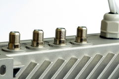 A group of CATV exit from amplifier. A group of CATV exit from distribution amplifier Royalty Free Stock Photo
