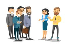 Caucasian delegates networking during conference. royalty free illustration