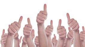 Group of Caucasian white People making Hand Thumbs Up sign as Like, Approval or Endorsement Concept. 1920x1080 steady full HD footage isolated on white stock footage