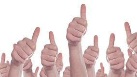 Group of Caucasian white People making Hand Thumbs Up sign as Like, Approval or Endorsement Concept stock video