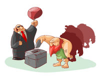 Group of cavemen voting. Vector illustration of group of cavemen voting, misled by cheap promises of food Stock Images