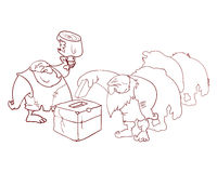 Group of cavemen voting. Vector illustration of group of cavemen voting, misled by cheap promises of food Stock Image