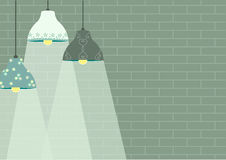 Group of ceiling lamp on green brick wall backgrounds,Vector Royalty Free Stock Photos