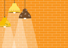 Group of ceiling lamp on orange brick wall backgrounds. Group of ceiling lamp on orange brick wall Royalty Free Stock Photography