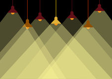 Group of ceiling lamp and yellow lights,Vector illustrations Stock Photo
