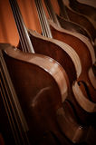 Group of cellos in the workshop violin maker Royalty Free Stock Photography