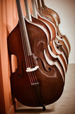 Group of cellos in the workshop violin maker Royalty Free Stock Image