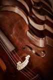 Group of cellos in the workshop violin maker Stock Photos