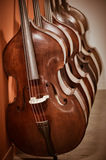 Group of cellos in the workshop violin maker Royalty Free Stock Images