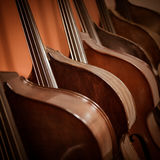 Group of cellos in the workshop violin maker Stock Photo