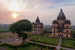 Group of Cenotaphs in Orchha at sunset Stock Photo