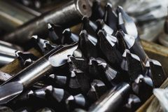 Group of center drill tools with beautiful light Royalty Free Stock Photos