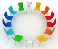 Group of chairs costs round vector illustration