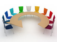 Group of chairs stands at table as an arrow Royalty Free Stock Photography