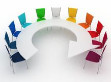 Group of chairs stands at a table as an arrow Stock Images
