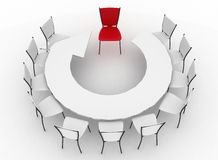 Group of chairs stands at a table as an arrow Stock Photography