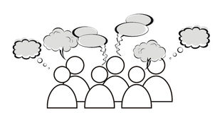 Group of characters is having a discussion. A group of characters is having a discussion Stock Image