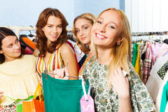Group of charming women in shopping mall Stock Photography