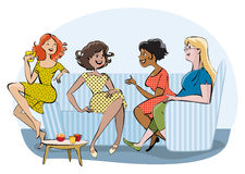 Group of a chatting women. Vector cartoon of a group of women chatting and drinking coffee Stock Images