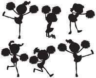 A group of cheerers. In black colors on a white background Royalty Free Stock Image