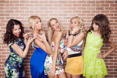 Group of cheerful beautiful woman. Bachelore Stock Photography