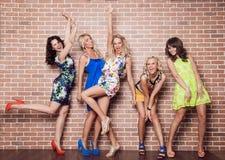 Group of cheerful beautiful woman. Bachelore Royalty Free Stock Image