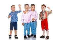 Group of cheerful boys. royalty free stock images