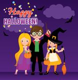 Group of cheerful children in Halloween costumes. Stock vector illustration stock illustration