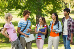 Group of cheerful college friends in campus Royalty Free Stock Images